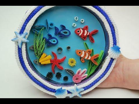 DIY Quilling Aquarium - Recycled Old Wall Clock