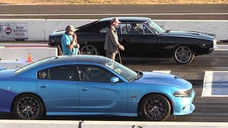 '68 Charger vs '18 Charger - 1/4 mile muscle cars drag race