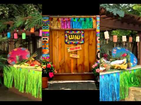 Diy hawaiian party decorations ideas youtube for Hawaiin decorations