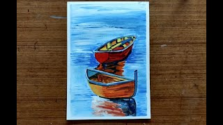 How to make wooden Boats In Water Painting  | Acrylic Painting Art Lesson