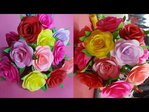 HOW TO MAKE BEAUTIFUL PAPER ROSE FLOWERS   DIY PAPER ROSES