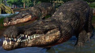 4 Deinosuchus Vs 2 Suchomimus & 2 T-Rex - Jurassic World Evolution Mods (4K 60FPS)