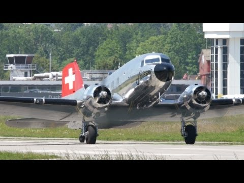 """Swissair DC-3 """"Grand Old Lady"""" Take Off at Airport Bern-Belp"""