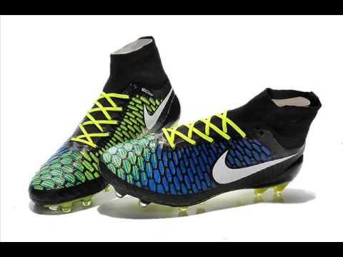 nouveau style 2cff5 9a8bd Chaussures De Foot Nike Magista Obra FG Noir Jaune Bleu Blanc Soldes