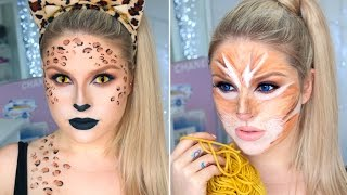 Sexy Leopard & Cute Tabby Cat! ♡ 2-in-1 Cat Halloween Tutorial!