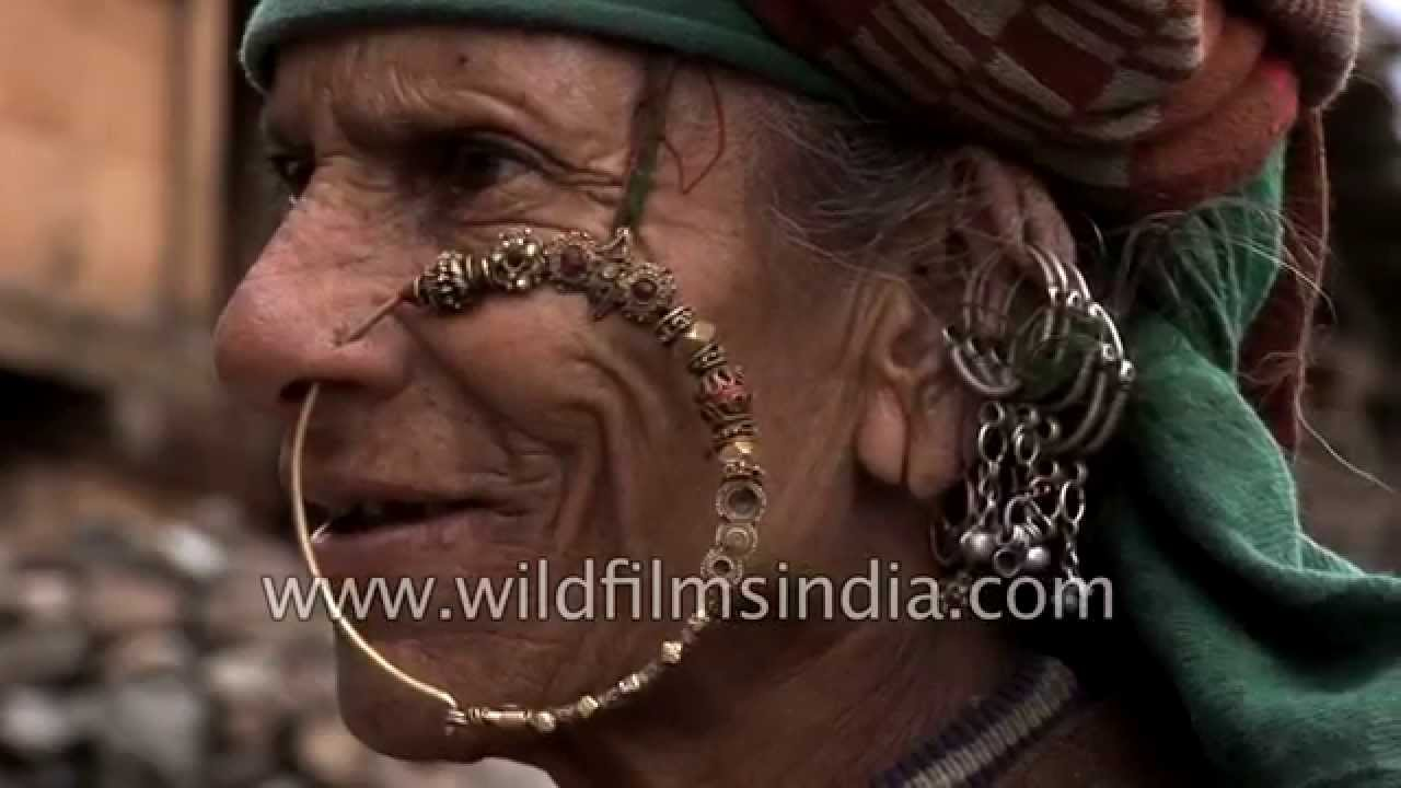 Old woman wears traditional Nath or nose-ring in Uttarakhand - YouTube