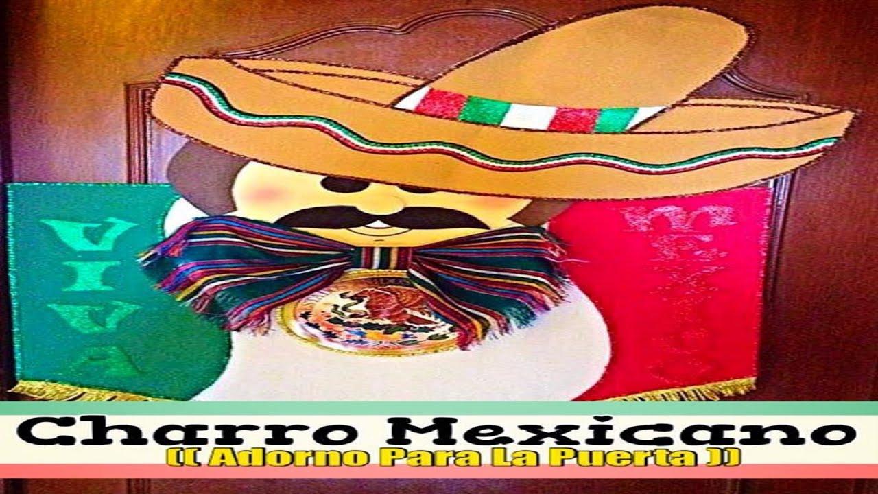 Charro mexicano adorno para la puerta youtube for Puertas decoradas 16 de septiembre