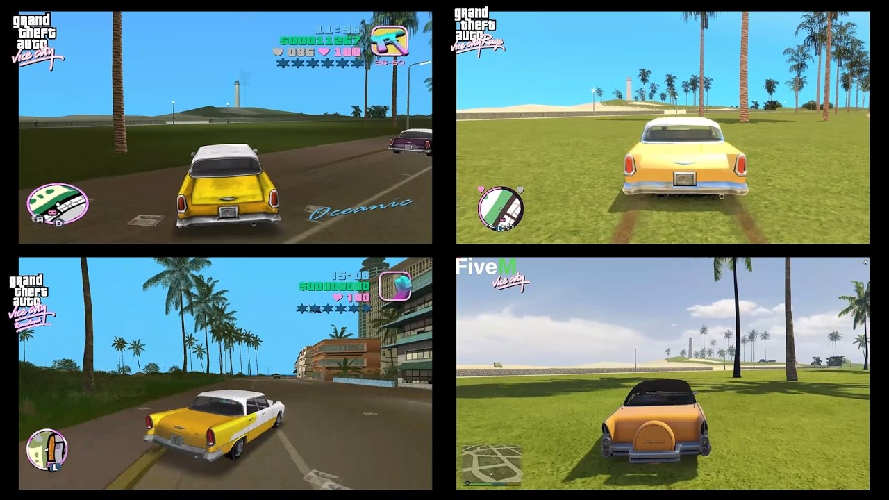 K Gta Vice City Original Vs Remastered Vs Rage Vs Gta V Vice City