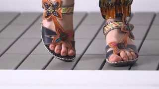 "721-572 Corkys Elite ""Poppy"" Hand-Painted Leather Adjustable Demi Wedge Sandals"