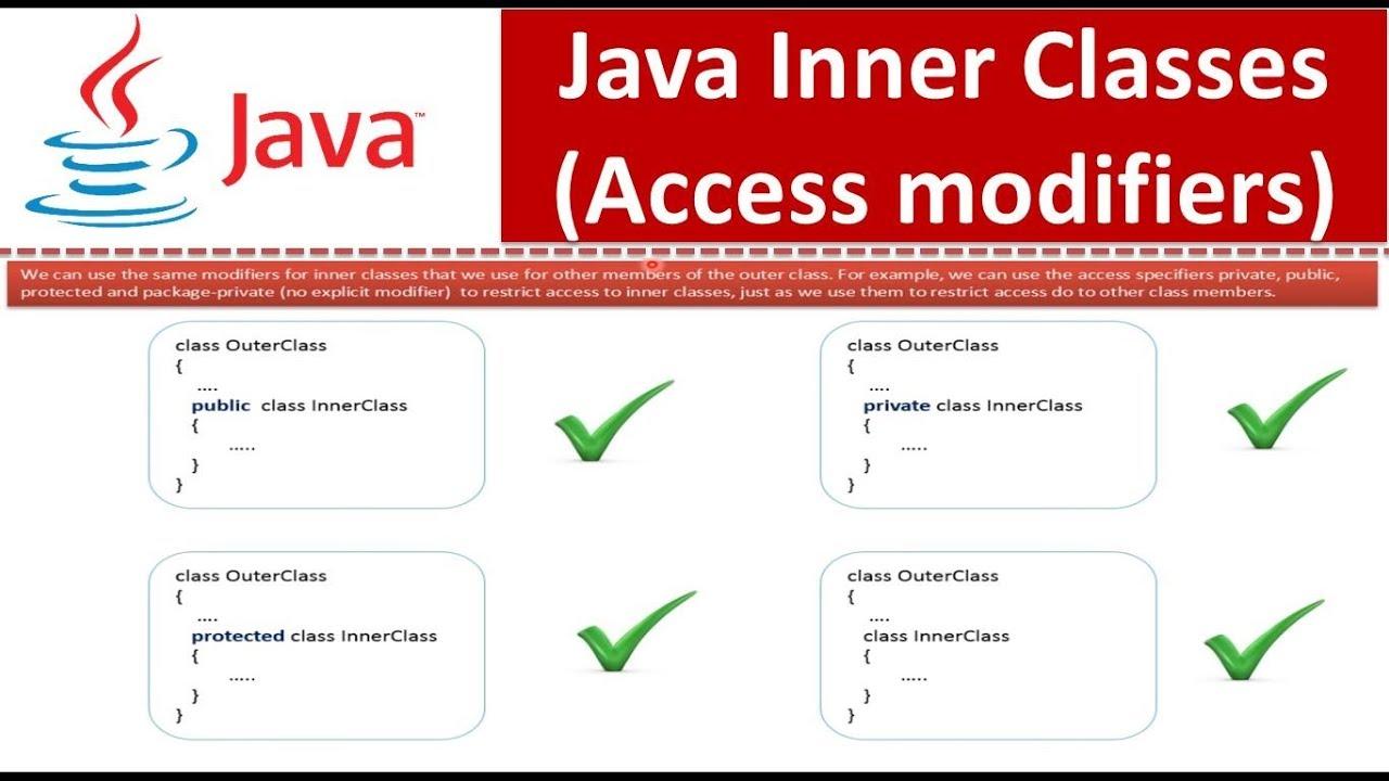 Java Tutorial : Java Inner Classes(Access modifiers) - YouTube