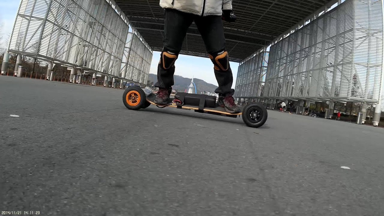 CRAZY RC] Electric Mountain board, turn[go] round and round  #1