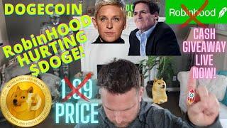 🔴Dogecoin 50 CENTS Info | Price Prediction | Mark Cuban Robinhood HURTING Doge| LIVE CASH GIVEAWAY