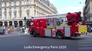 Pompiers de Paris incendie commerce  Saint Lazare Paris Fire Dept responding commercial Fire