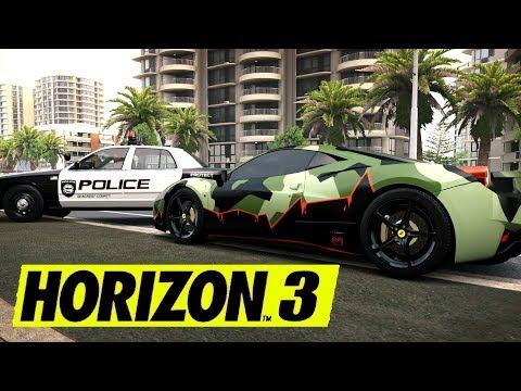 FORZA HORIZON 3 - POLICE VS SUPERCARS ! FERRARI 458 ITALIA DE GMK.