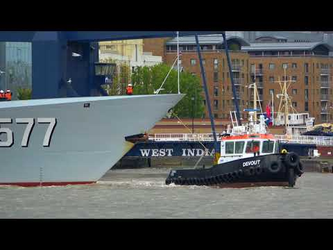 Type 054A Frigate Huanggang (577), London West India Dock 4K UHD