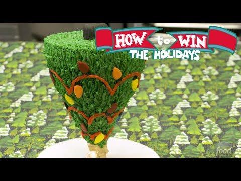 Gravity-Defying Upside-Down Christmas Tree Cake | Food Network