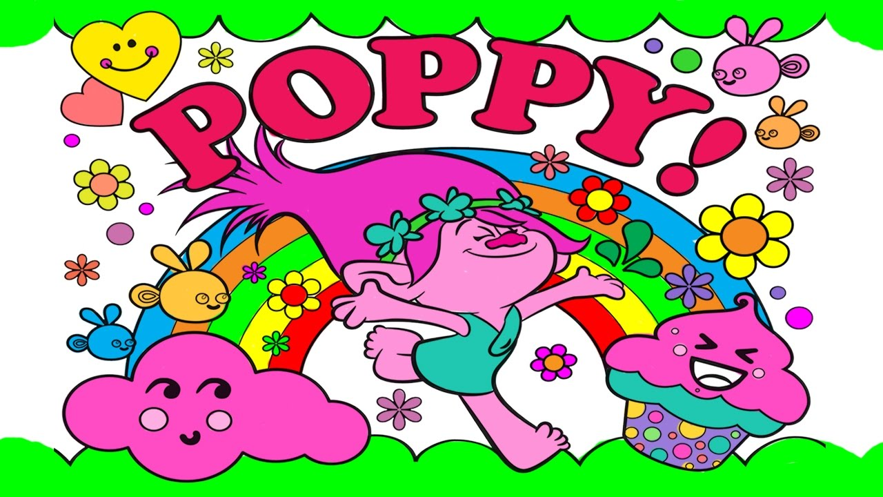 Trolls coloring pages baby poppy - Poppy Trolls And Cupcake Rainbow Flower Bird Coloring Book Pages Learn Colors For Kids
