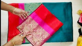 Royal silk banaras Saree blouse design /blouse back neck design cutting and stitching