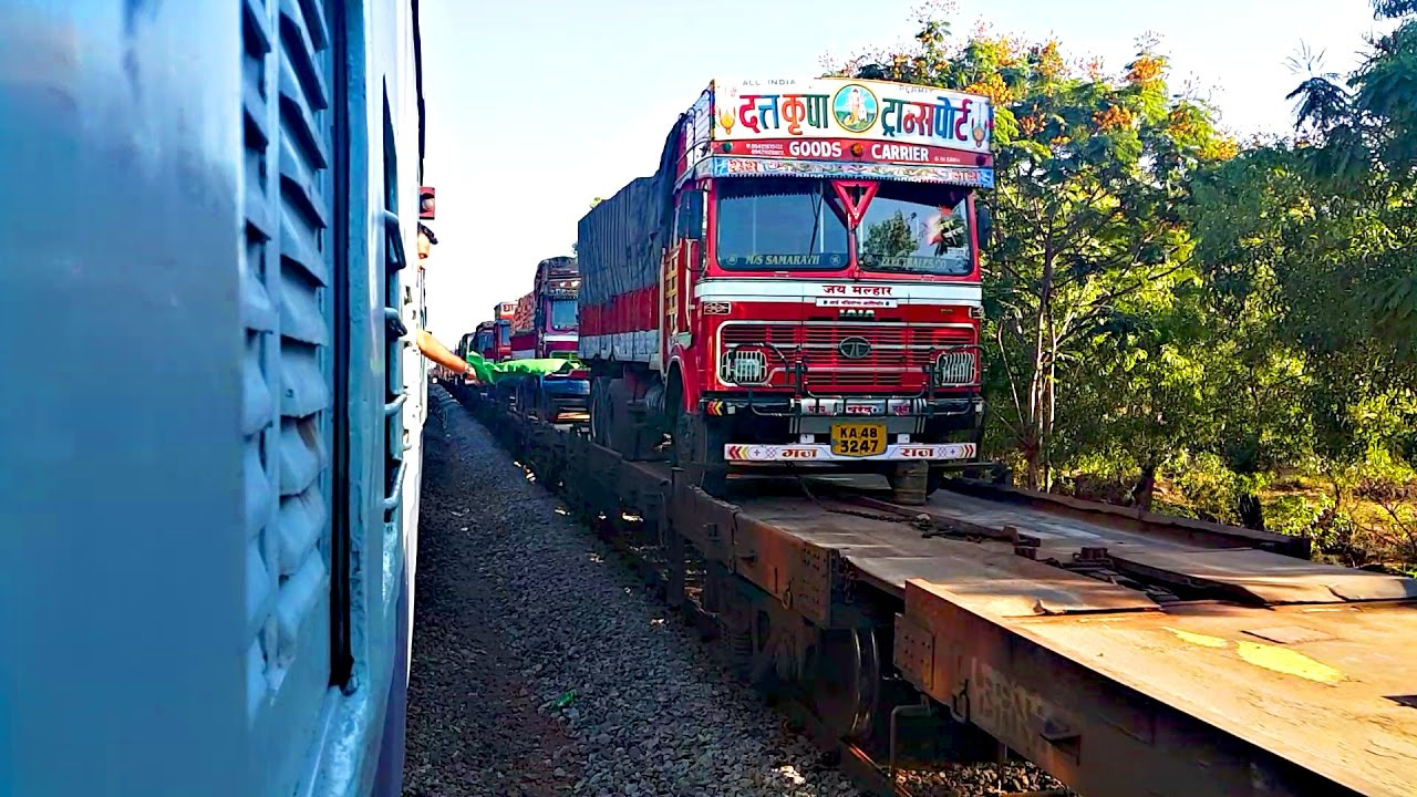 konkan railways roro Trucks on trains: konkan idea petrol in trucks and make an easy hassle free transport for trucks was an idea formulated by konkan railways roll on, roll off.