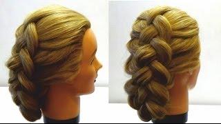 Прическа с плетением Плетение косы из 4 прядей Four (4) strand braid hairstyle
