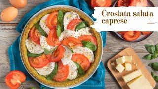 Crostata salata caprese, ricetta facile e veloce con base di frolla al basilico e ripieno di caprese