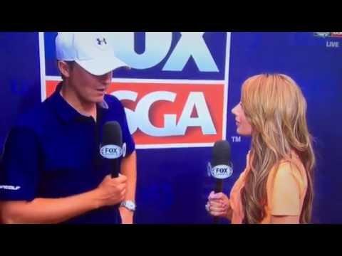 Holly Sonders interviews Jordan Spieth about Jason Day passing out US OPEN 2015 Vertigo