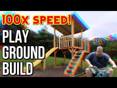 DIY Playground Build 100x SPEED! // Backyard Fort // Play Ground // Play House // Treehouse