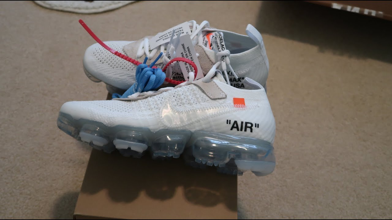 560a45fed49cd9 Off-White Air Vapormax White 2018 Sneaker Unboxing - YouTube
