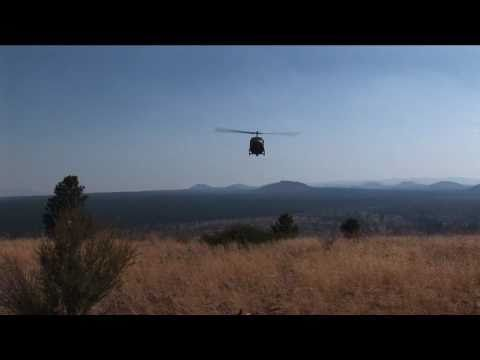 Huey Landing on Hilltop in Central Oregon