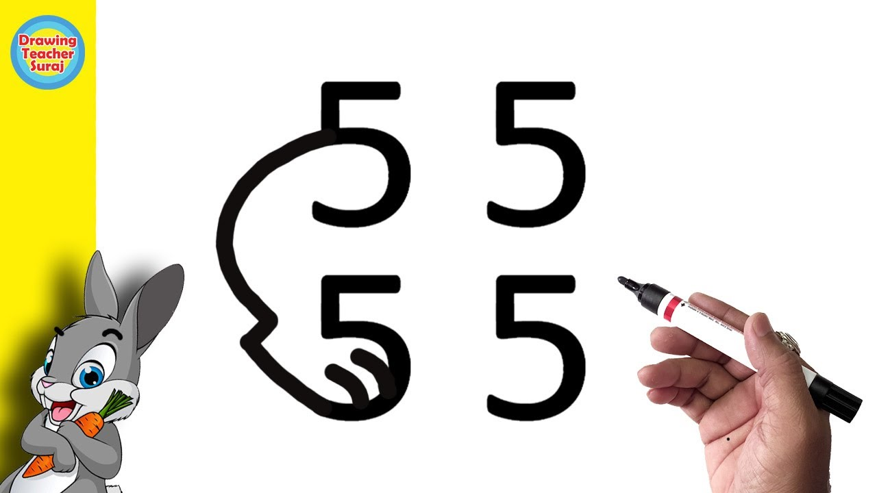 Drawing Simple Rabbit From 5 Number