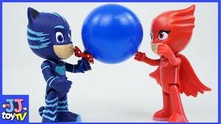 Pj Masks Changes Into Color Balloon & Kinetic Sand. [Jjtoy Tv]