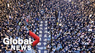 Hong Kong citizens march in protest of extradition bill