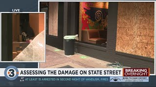 Assessing the damage of businesses, property on State Street