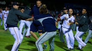 Bench-clearing brawl breaks out in Adelaide