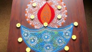 Diya rangoli design for diwali | Innovative rangoli designs by Poonam Borkar