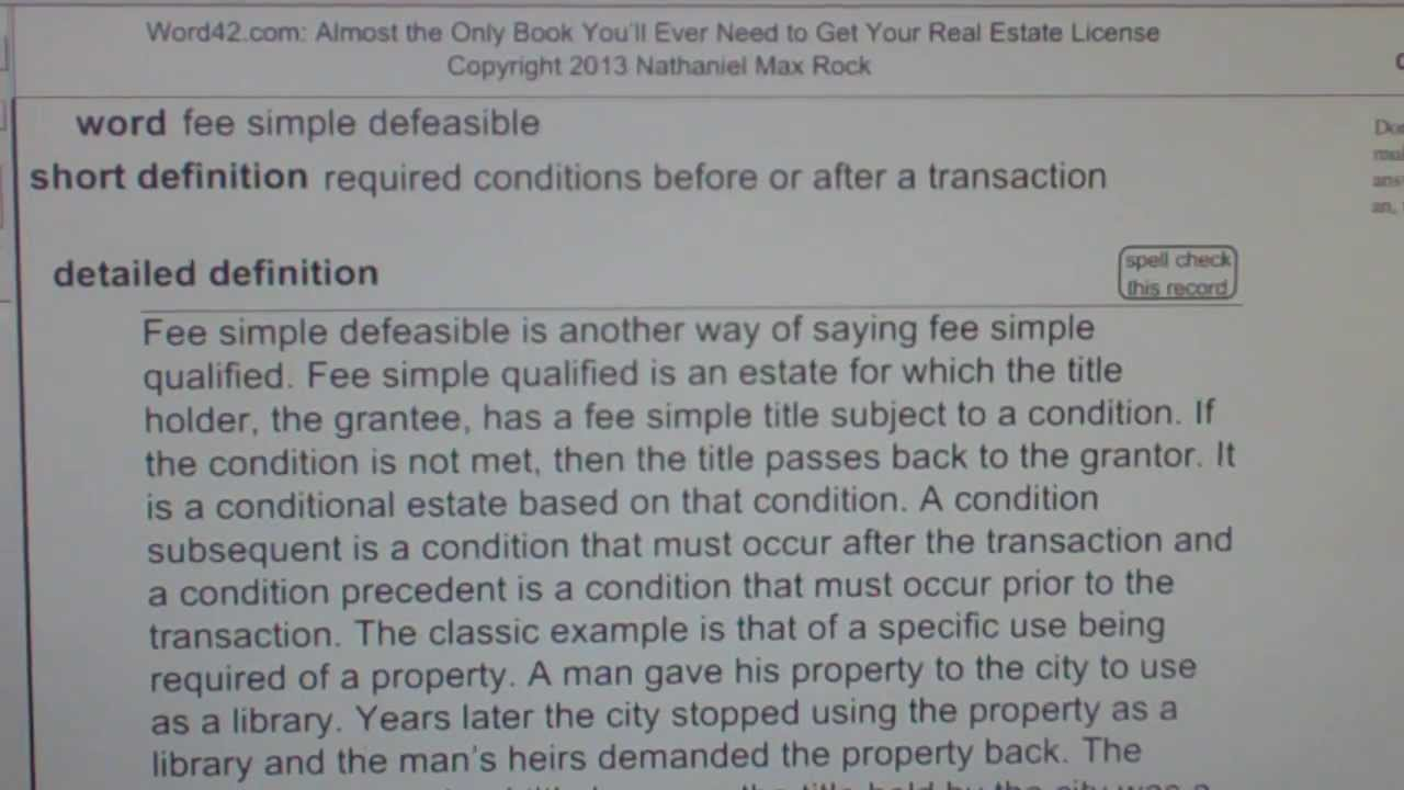 fee simple defeasible CA Real Estate License Exam Top Pass