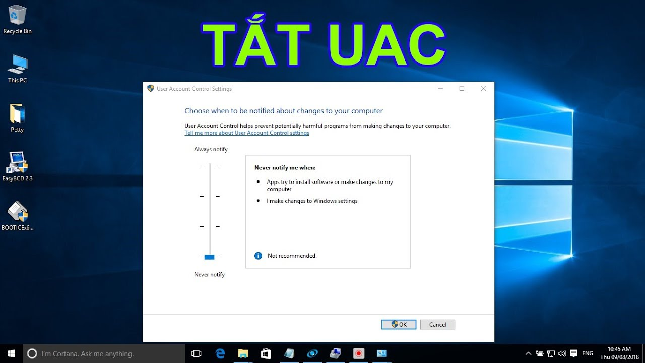 Hướng dẫn tắt UAC trên Windows 10 (Disable UAC On Windows 10)