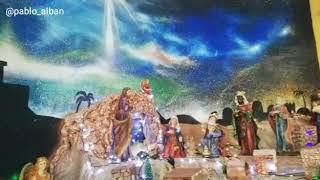 Pintura como Fondo navideño, acrílico sobre lienzo lona