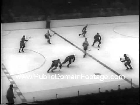 Chicago Blackhawks defeat Detroit Red Wings to win 1961 NHL Stanley Cup archival footage