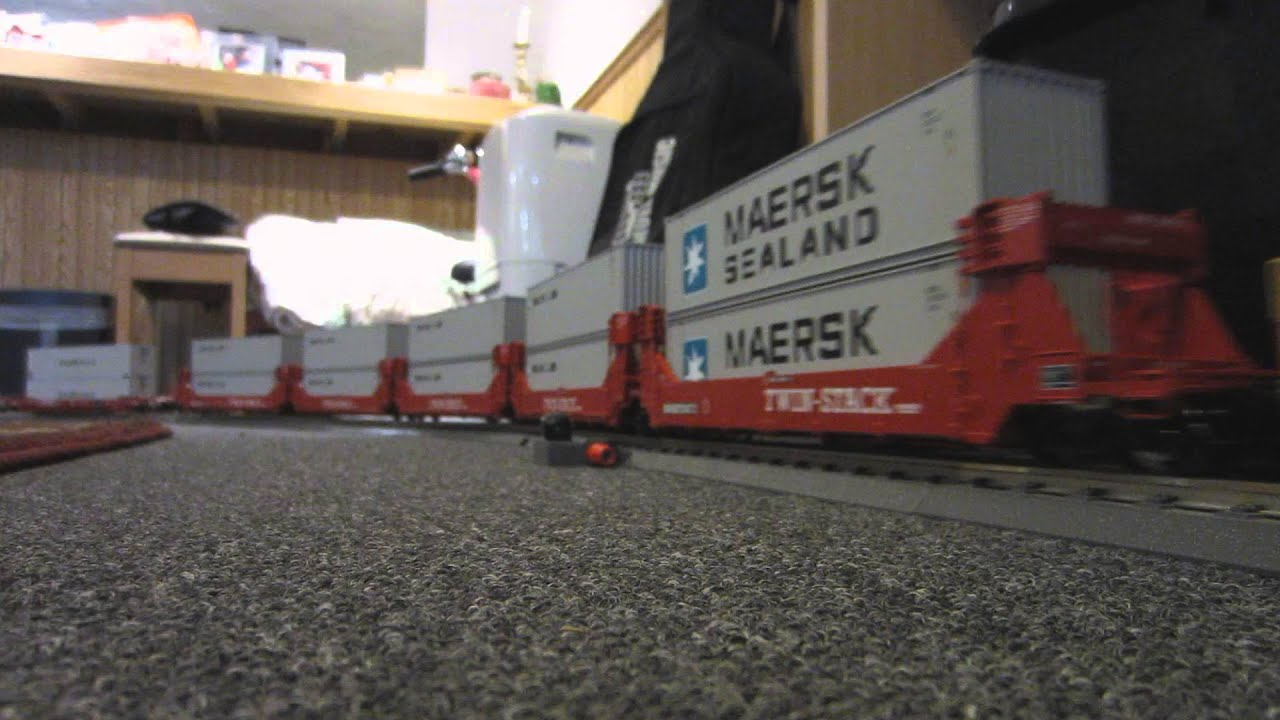 O-Scale Intermodal train on carpet - 2 of 2 - YouTube