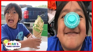 Ryan Eating Real Gold Ice Cream + Fidget Spinners Trick On Nose!!!