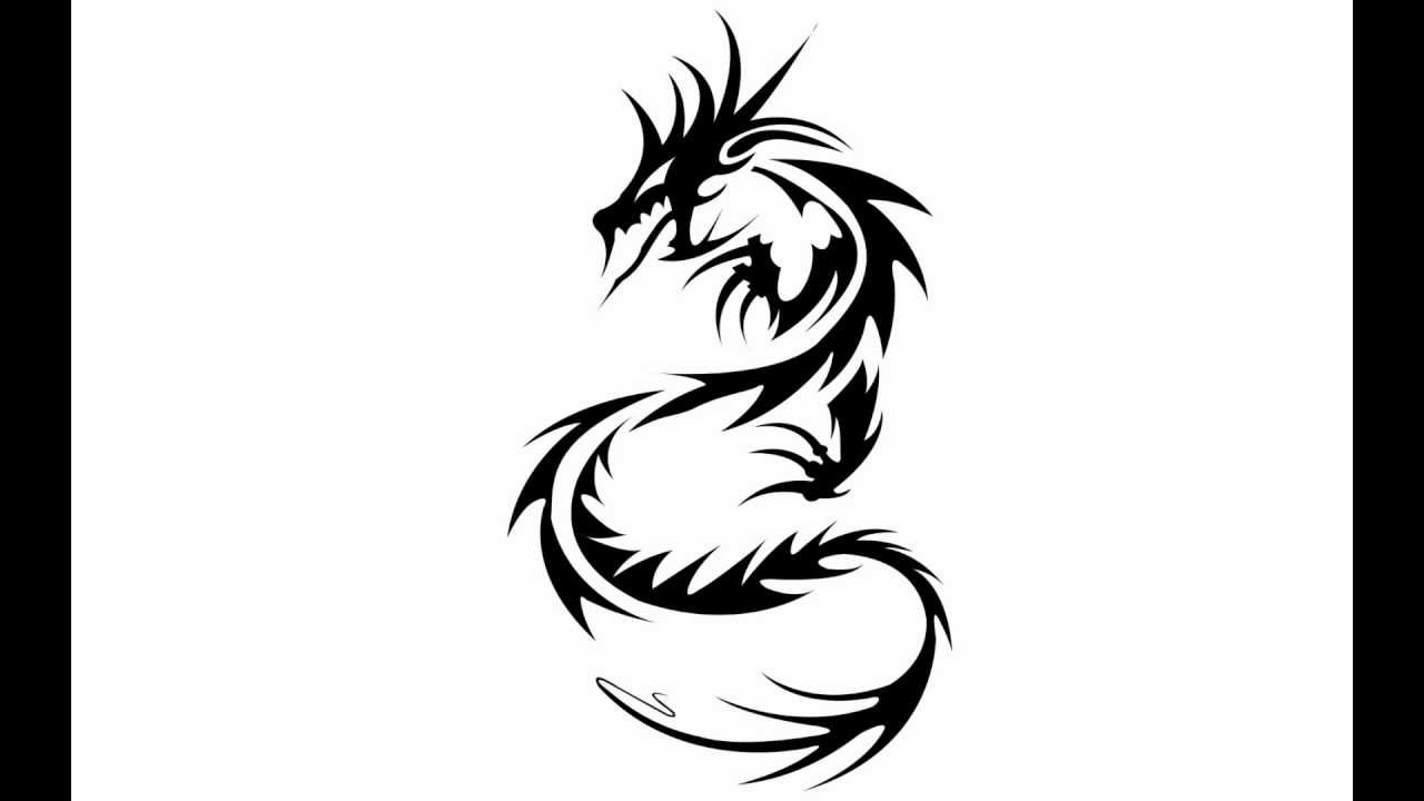 How to draw a dragon tattoo - YouTube
