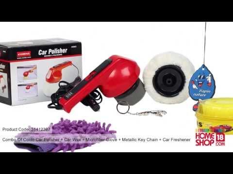 Homeshop18.com - Combo Of Coido Car Polisher,Car Wax,Microfiber Glove, Key Chain & Car Freshener