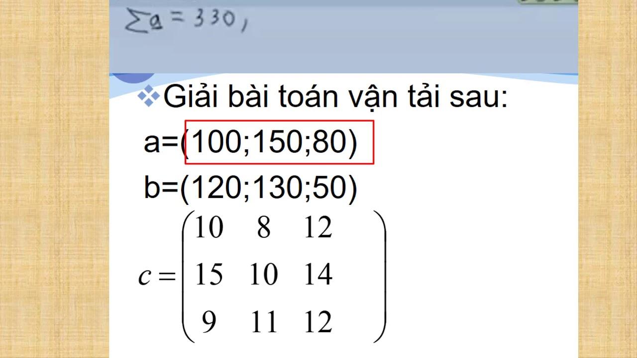 BT vận tải không cân bằng thu phát- ví dụ 3.2