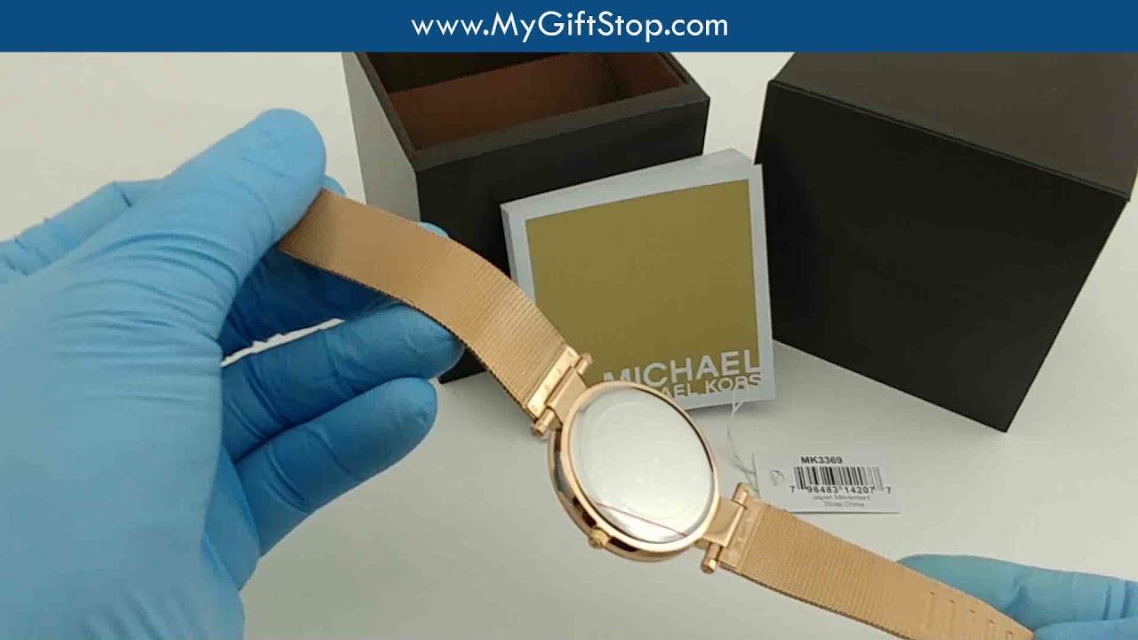 52c5c6be732d Michael Kors MK3369 Darci Women s Rose Gold Mesh Bracelet Watch Video