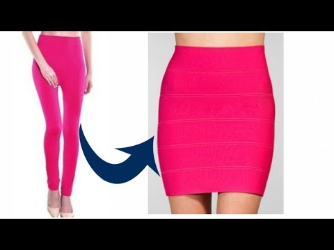 DIY: Convert/recycle old leggings into pencil skirt//refashion clothes/ ways to recycle leggings