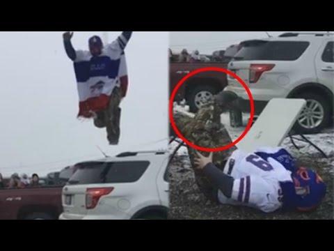 Insane Bills Fan BREAKS LEG In Half Trying To Jump Through A Table