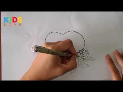 วาดรูป  หัวใจ กับ ดอกไม้  สำหรับ วาเลนไทน์ Draw  heart and flower  Valentines Day  Ep.4 : Kids love