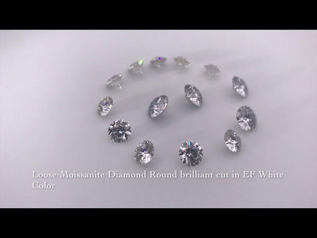 Loose Moissanite Diamond Round brilliant cut in EF White Color Gemstone China Wholesale