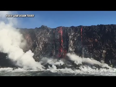 Lava Ocean Entry Begins On Hawaii Island (July 26, 2016)